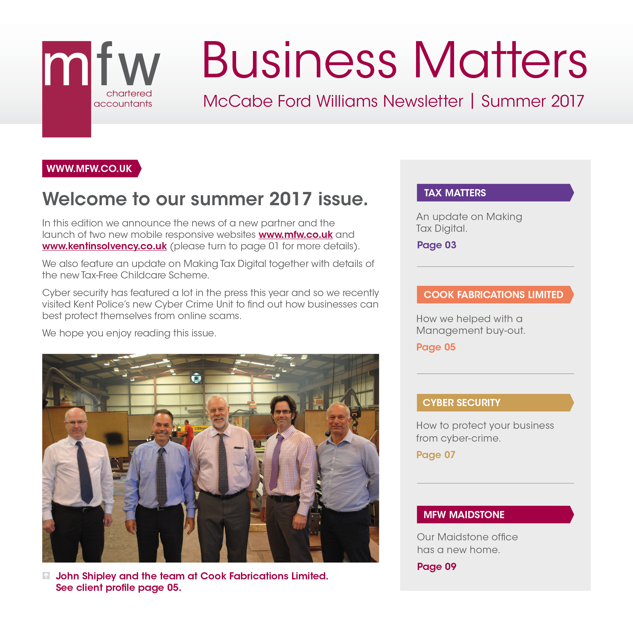 Business Matters summer 2017 front page